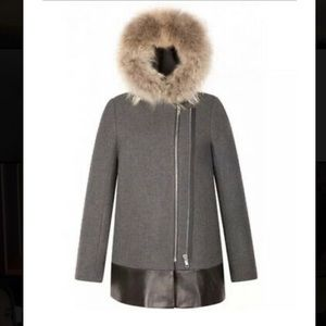 Sandro gray wool hooded jacket with racoon fur